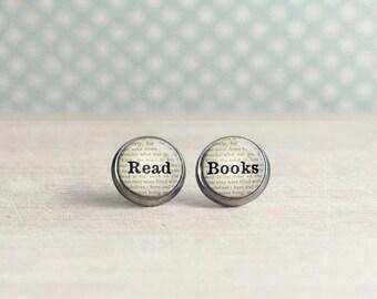 Book Lover Earrings - Read Books - Reader Earrings - Bookish Jewelry -   (H5920)