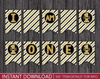 """Mr. ONEderful High Chair Banner - """"I AM 1"""" Mr One-derful Party Decorations - Printable Digital File - INSTANT DOWNLOAD"""