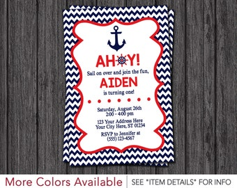 Nautical Birthday Invitation - Anchor