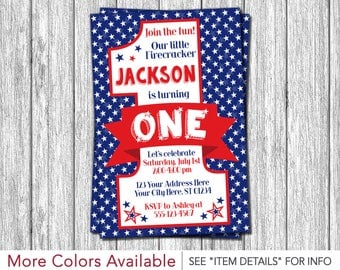 4th of July Birthday Invitation - Fourth of July First Birthday Invitations