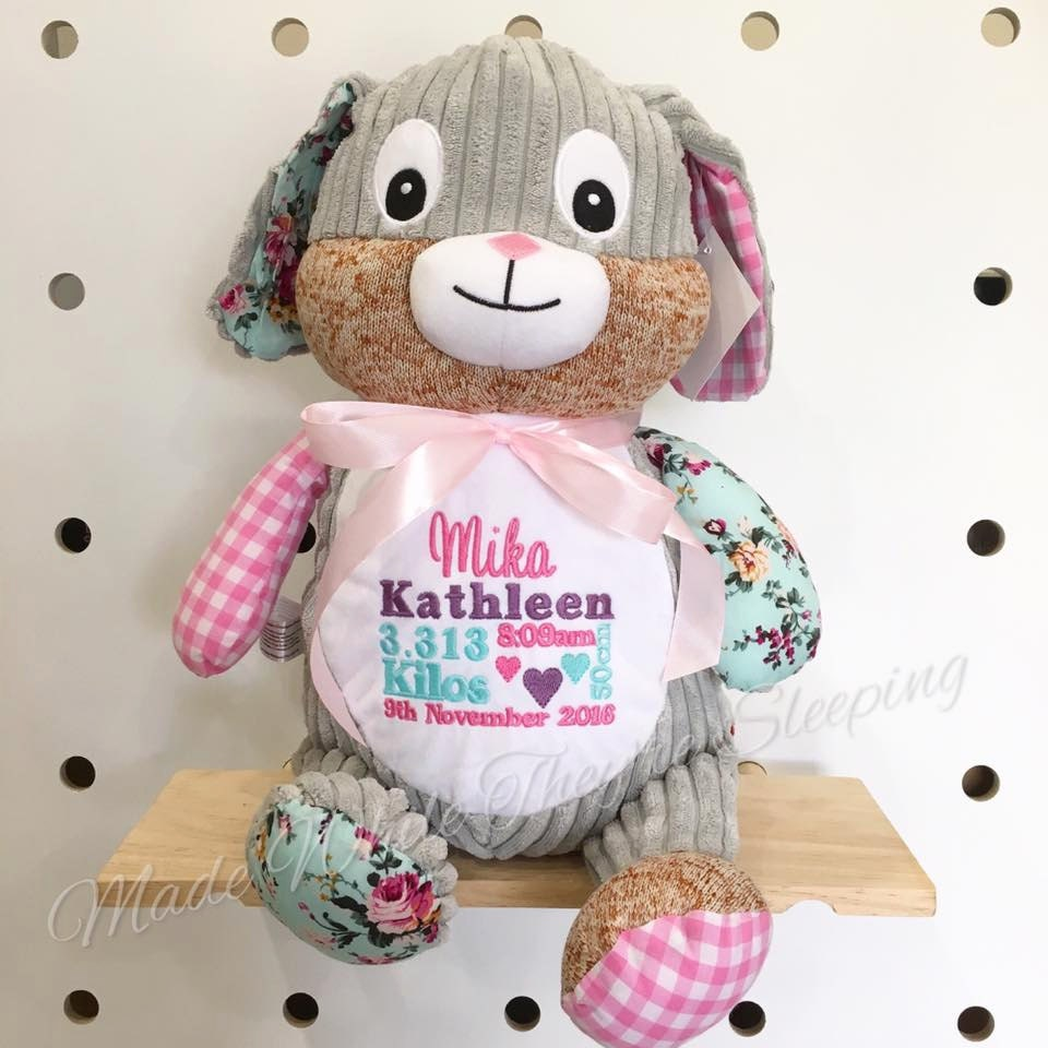 Personalised Harlequin Cubbie Cubby Teddy Bear Pink Bunny Personalized  Patchwork Embroidery Embroidered