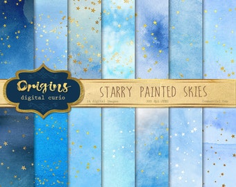 Starry Painted Skies Digital Paper, gold stars and blue watercolor backgrounds, watercolour textures, night sky whimsical scrapbook paper