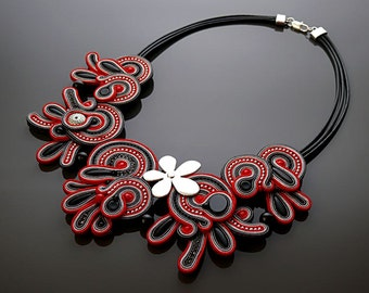 Red black graphite necklace soutache with Onyx.