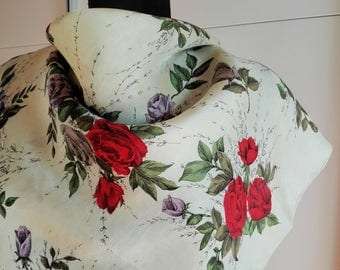 Vintage Square Silk Scarf - red roses - flowers