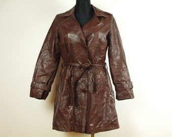Long chocolate brown leather coat jacket 80s short Nappa leather Giannone for Brutus Rex Motorcycle Punk Steampunk clothes