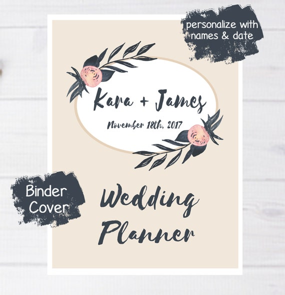 Wedding Website Password Ideas: Wedding Binder Cover Printable Water Color Rustic Wedding