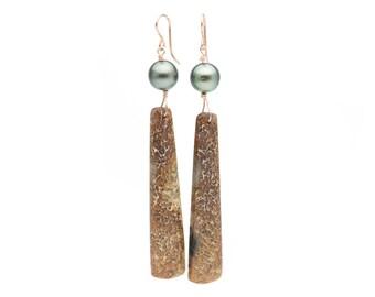 Tahitian Pearl & Dinosaur Bone Dangle Earrings