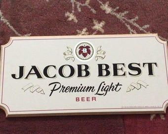 Vintage Jacobs Best Beer Sign Wooden PBR