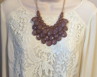Grey purple lavender  Bib Beaded Chandelier Layered Statement Necklace with matching Earrings