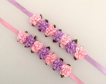 Purple and pink flowers hair bun flower wreath