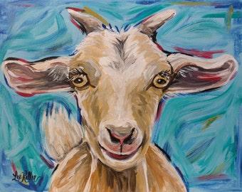 Goat art, goat decor.  Goat print from original canvas painting. Goat art prints, cute goat art, goat decor