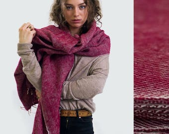 Nomad Scarf Red - blanket scarf, oversized scarf, chunky scarf, festival accessories, festival blanket, throw