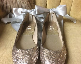 Chanpagne gold, silver glitter lace up ballet flats. Custom made to order. Woman sizes only.