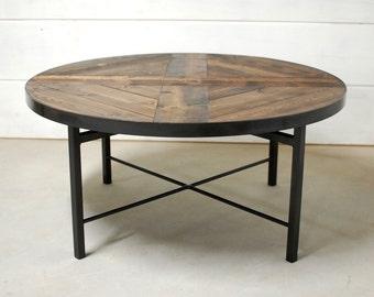 Round Industrial Coffee Table W Shelf Custom Wood