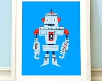 Robot nursery print, nursery art, boys robot print, robot art, robot nursery print, boys bedroom, kids room, blue room, robot decor.