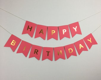 Happy Birthday Banner - Coral with Gold Foil Letters