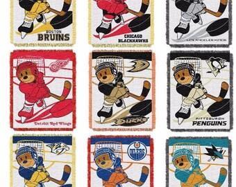 Personalized NHL HOCKEY Teddy Bear Blanket Throw 9 NHL Teams  - Monogrammed