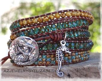 Mermaid Leather Wrap Bracelet/ Seed Bead Leather Wrap Bracelet/ Beaded Wrap Bracelet/Gift For Her/ Seahorse Bracelet/ Boho Wrap Bracelet.