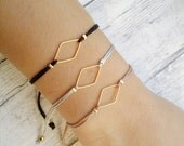 SALE Rhombus charm bracelet, friendship bracelet, macrame bracelet, minimal bracelet, geometric, gold, bracelet set, jewelry, gift, women, t