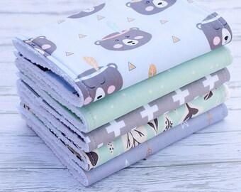 Baby Burp Cloths Set of 5, Baby Gift, Baby Shower, Newborn Burp Cloths, Baby Burpcloths, Bear Burpcloths, Arrow Burp Cloths