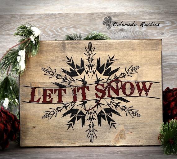 Let It Snow Christmas Sign Snowflake Christmas Wall Decor