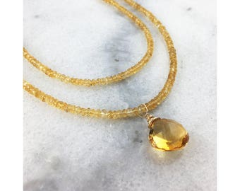 Citrine Pendant Necklace with AAA Faceted Citrine Rondelles and Briolette and 14K Gold filled Necklace - November Birthstone