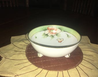 Vintage NIPPON Footed Bowl With Blue Maple Leaf Mark
