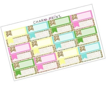 Labels / Summer Brights / Glitter Labels / Planner Stickers