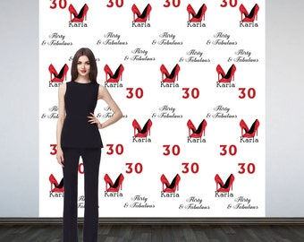 Stepping into 30 Personalized Photo Backdrop -Red Heels Step and Repeat Photo Backdrop- 30th Birthday Party Photo Backdrop -Custom Backdrop
