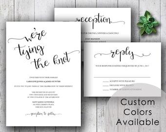 Printable wedding invitation, Rustic wedding invitations, Rustic wedding invites, Script invites, DIY wedding invites (Choose Your Colors!)