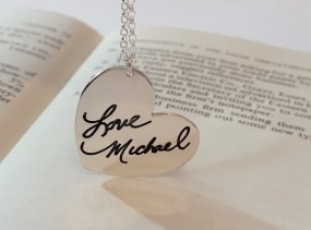 Sale 40% Heart Necklace Actual Handwriting Jewelry - With your Personalized Signature -  Signature Jewelry -  Valentine gift