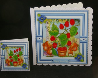 Cute Mice Picking Raspberries 3d Decoupage Card - Any Occasion design - Birthday, Mother's Day, Get Well, Daughter, Niece etc -Made in UK