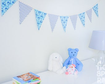 Fabric Bunting, Nursery Decor, Reversible Bunting, Baby Shower Gift, Baby Boy Gift, Bedroom Decor, Baby Photography Prop, New Baby Gift