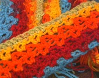 Rainbow Scarf, Red Scarf, yellow Scarf, orange scarf, green scarf, yarn, gift, for women, winter scarf, accessory, fashion accessory, caron