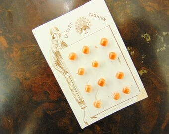 Vintage Czech Glass Buttons, 20's Deadstock NOS Art Deco Flapper Era, Orange White, Very Small Dress Buttons