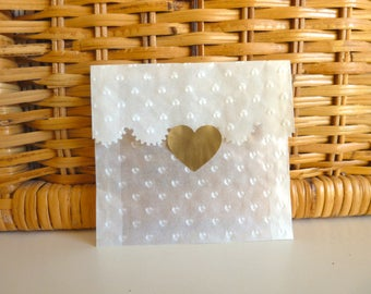 50 heart embossed glassine confetti bags wedding favour mini envelopes with gold or silver heart stickers scallop top