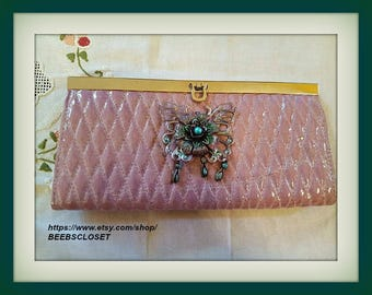 Pink evening clutch bag  -Butterfly clutch-Unique and one of a kind