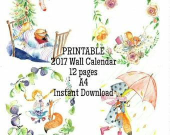 Printable Wall Calendar 2017 Original Watercolor 12 Illustrations A4+, kids DIY calendar, fox art, nursery decor, wall art for children