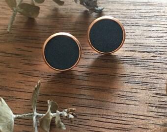 Midnight Navy & Copper Clay Studs