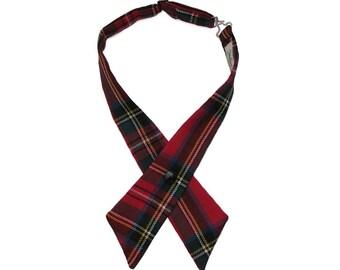Royal Stewart Scottish Tartan Plaid Crossover Bow Tie 100% Wool Handmade in UK