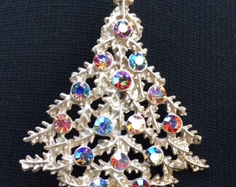 Rhinestone Christmas Tree Brooch / Pin