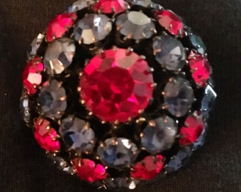 Blue & Red Rhinestone Dome Brooch / Pin