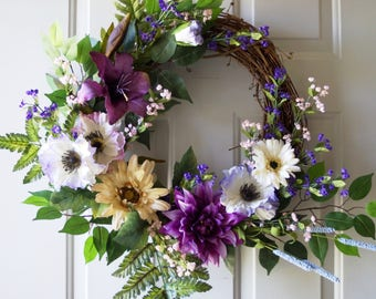 Large Summer Wreath, Purple Cream Wreath, Lily Poppies Chrysanthemum Fern Wreath, White Cream Purple 24in