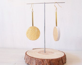 Geometric round earrings MATERIA MOON, unique design jewels, paper earrings with gilding mission, lightweight dangle earrings, design paper