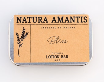 Bliss Lotion Bar | Citrus Solid Lotion, Organic Skin Care, Moisturizer, Hand Lotion, Beeswax Lotion, Hydrating Lotion Bar