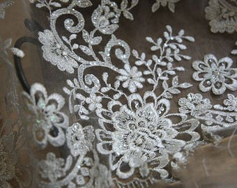 Sequin Wedding Lace Fabric, Ivory Floral Embroidery Lace Fabric, Corded Lace Fabric, 55 inches Wide for Dress, Craft Making 1/2 Meter