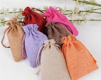 "Beauty Colorful 50pcs Burlap Bags 3.9"" x 5.5"" , Wedding Party Gift Bag Natural Drawstring Sack,YTF04"