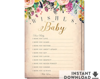"Baby Wishes Cards 5x7"" (2 Per Page) // Printable Baby Wish Cards Baby Girl Shower Games // INSTANT DOWNLOAD // Printable No.1052BABY"