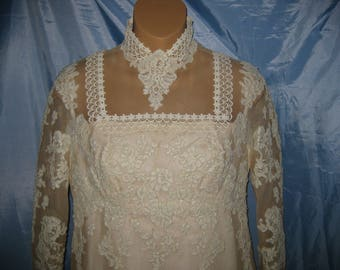 Vintage 1970'S Henri Bendel Boutique Designer Wedding Dress Gown Ivory Train