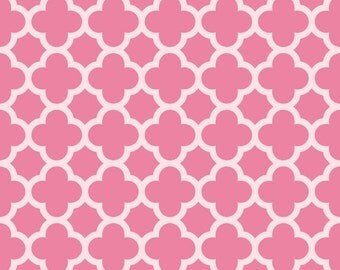 Riley Blake hot pink sparkle quatrefoil fabric by the yard, glitter shimmer pink quatrefoil fabric, Easter fabric, Valentine fabric
